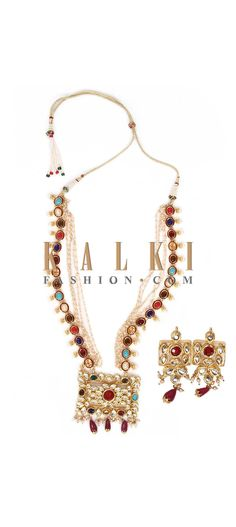 Buy Online from the link below. We ship worldwide (Free Shipping over US$100) Price-$79 Click Anywhere to Tag http://www.kalkifashion.com/necklace-made-with-navratan-kundan-and-brass-with-matching-earrings.html