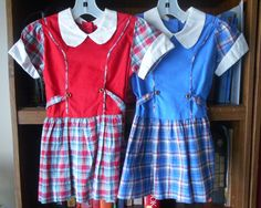 "50's Little Girls' ""Waitress"" Dress ~ Choose Blue OR Red Plaid ~ Size 5 ~ Deadstock NEW without Tags by VMaleDetroitVintage on Etsy"