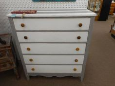 $189 - Shabby chic 5 drawer chest painted in a two tone gray and crisp white and finished in a clear wax. Charming addition to any bedroom.***** In Booth C3 at Main Street Antique Mall 7260 E Main St (east of Power RD on MAIN STREET) Mesa Az 85207 **** Open 7 days a week 10:00AM-5:30PM **** Call for more information 480 924 1122 **** We Accept cash, debit, VISA, Mastercard, Discover or American Express