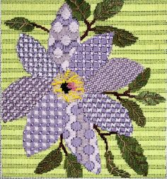 needlepoint painted stitches passionflower, possibly JP Needlepoint