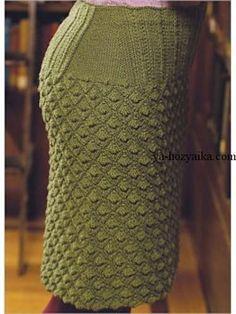 Прямая юбка спицами со шлицей. Красивая юбка спицами схемы