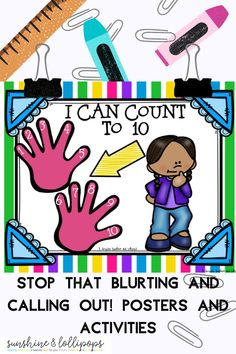 Are you looking for a way to teach your students to stop and think before they BLURT? Well, it is possible with this Stop that blurting and Calling out Posters and Activities. Children are given fool proof strategies to think before they blurt. It has been used by many teachers with positive results. So why not give it a try? Back To School Activities, School Resources, Behavior Management, Classroom Management, First Grade, Second Grade, Any Book, Lollipops, Educational Activities
