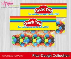 Instant Download Printable Play Dough Party Favor Bag Toppers