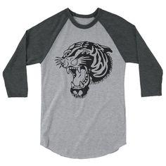 Tiger Old-School Tattoo 3/4 Sleeve Raglan Shirt