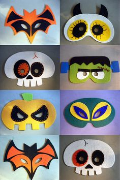 Resultado de imagen para felt mask for kids free patterns Kids Crafts, Halloween Crafts For Kids, Felt Crafts, Cardboard Crafts, Cardboard Paper, Party Crafts, Halloween Images, Creative Crafts, Creative Writing
