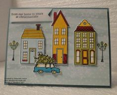 Stampin' Up!'s Holiday Home stamp set & Homemade Holiday Framelits Dies - car & tree from White Christmas Stampin Up Christmas, Noel Christmas, Handmade Christmas, White Christmas, Holiday Cards, Christmas Cards, New Home Cards, Stamping Up Cards, Rubber Stamping