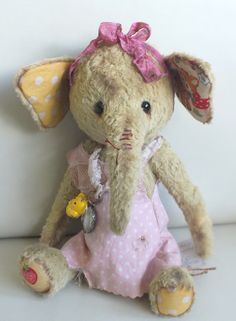 Popcorn the elephant, in viscose, by Ragtail n Tickle