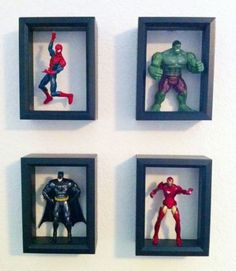 marvel bedroom Shadow Boxes With Action Figures Craft Stuff Boy Room Boys Superhero Bedroom, Boys Bedroom Decor, Baby Bedroom, Superhero Room Decor, Kid Bedrooms, Marvel Bedroom Decor, Kids Bedroom Boys, Bedroom Furniture, Bedroom Small