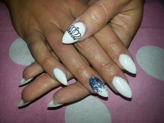 White Acrylic Sharp Almond Nails with hand painted Crown Nail Art and Glitter ombre