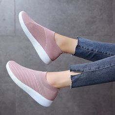 Womens Fly Kint Slip On Casual Low Top Sneaker Trainer Athletic Sock Shoes Gifts Running Sneakers, Slip On Sneakers, Casual Sneakers, Casual Shoes, Running Shoes, Sneakers Adidas, New Chic Shoes, Casual Jeans, Sock Shoes