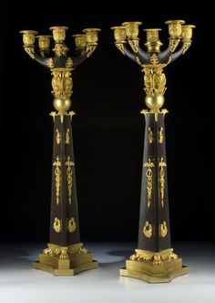 Pair of French Empire Candelabras. Height: 67 cm. France, first half of the 19th century. Bronze & Ormolu Bronze.