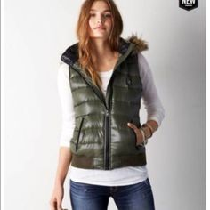 American eagle down vest w removable hood. Sz  Sm Like new! Buttery soft vest with removable fur trim good. Perfect green color! American Eagle Outfitters Jackets & Coats Vests