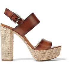 Michael Kors Collection Summer leather espadrille platform sandals ($455) ❤ liked on Polyvore featuring shoes, sandals, heels, brown, platform sandals, ankle strap heel sandals, brown leather sandals, summer sandals and brown heeled sandals