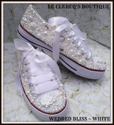 Couture Crystal & Pearl Wedding/Prom Shoes/Trainers ~ Wedded Bliss/White ~   Clothes, Shoes & Accessories, Women's Shoes, Heels   eBay!