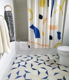 Re-gram from @studio_db of this dream bathroom featuring our paper shower curtain. We're sold out of these BUT! If you don't mind a couple spots we have some minorly damaged pieces left over, message us for more info!