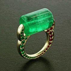 @thejewellcloset . Stunning  Diamond  Ruby & Emerald Ring.