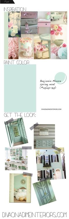 diva on a dime interiors: benjamin moore spring mint paint color) Shabby Chic Interiors, Shabby Chic Bedrooms, Shabby Chic Homes, Shabby Chic Furniture, Mint Paint Colors, Wall Paint Colors, Room Colors, Mint Girls Room, Shabby Chic Colors