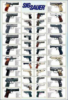 42 Models German Sig Sauer Revolvers Guns Pistols Paper Poster Germany #SigSauer