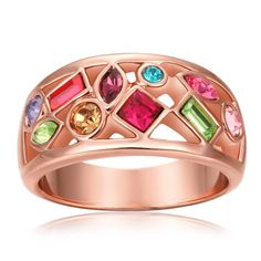 Rose Plated Rainbow Crusted Ring Size, Women's