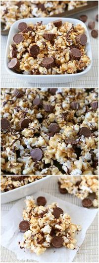 Reese's Peanut Butter Popcorn Recipe on twopeasandtheirpo. LOVE this popcorn t. - Popcorn Recipes and Treats - Yummy Snacks, Yummy Treats, Sweet Treats, Yummy Food, Peanut Butter Popcorn, Reeses Peanut Butter, Popcorn Recipes, Snack Recipes, Healthy Recipes