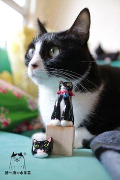 畢幸不幸轉轉轉: 【貓咪雕塑&扣針】熊貓