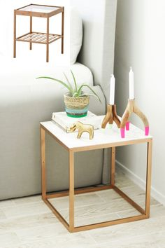 IKEA hack nightstand - four ways! - Ikea DIY - The best IKEA hacks all in one place Ikea Hack Nightstand, Ikea Table Hack, Diy Table, Ikea Bar, Ikea Dresser, Ikea Desk, Marble Nightstand, Ikea Hacks Coffee Table, White And Gold Nightstand