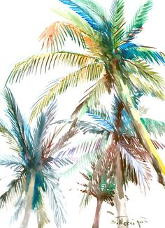 Palm trees original watercolor painting 16 X 12 in by ORIGINALONLY