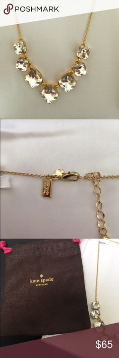 """Kate Spade crystal stone necklace on gold chain Kate Spade """"shaken and stirred"""" crystal stone necklace on gold tone chain. Adjustable length with claw closure. Perfect condition with dust bag. kate spade Jewelry Necklaces"""
