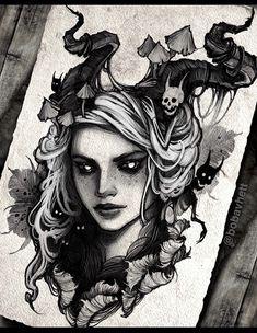 Owl Tattoo Drawings, Dark Art Drawings, Tattoo Sketches, Rose Tattoos For Men, Black Ink Tattoos, Sleeping Beauty Tattoo, Witchcraft Tattoos, Tattoo Posters, Creepy Tattoos