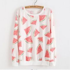 Watermelon-Watercolor-Kawaii-Cute-Art-Print-Lightweight-Layer-Sweater-Shirt