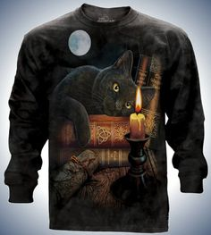 438573faf Witching Hours Black Cat Long Sleeve T-Shirt Long Sleeve Fantasy Cat Tee