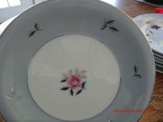 Seyei China BELLA MARIA 2129 - 2 Salad Plates - Japan - Pink Rose Gray Border