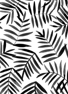Inky Leaf Print Black White Pattern Eva Background Design