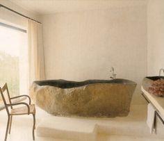 Large stone bath tub would be so perfect Stone Bathtub, Home Decoracion, Deco Nature, Beautiful Bathrooms, White Bathrooms, Luxury Bathrooms, Master Bathrooms, Dream Bathrooms, Bathroom Interior Design