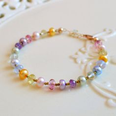 Easter Jewelry, Pastel Colors, Spring, Gold Beaded Bracelet, Pink Topaz, Green Amethyst Gemstone, Freshwater Pearl, Free Shipping