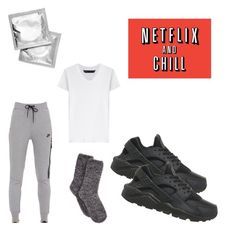 """""""""""Netflix and Chill"""" starter pack"""" by mely1216 on Polyvore featuring NIKE, Charter Club and Marc by Marc Jacobs"""