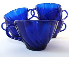 Cobalt blue glass tea cups