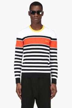 DSQUARED2 Black & White Striped Knit Sweater