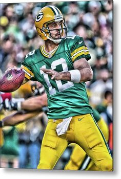 Aaron Rodgers Metal Print featuring the painting Aaron Rodgers Art 3 by Joe Hamilton