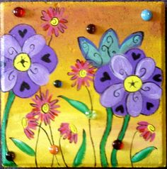 Garden Stone Specialty Yellow with Purple Flowers by KathyHyatt, $42.00