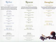 Disney's Grand Floridian spa Senses brochure. Mother/Daughter day before wedding?