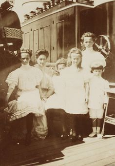 Alexandra with her five children:  Tatiana, Marie, Anastasia, Olga, and Alexei, most likely on board the Standart.