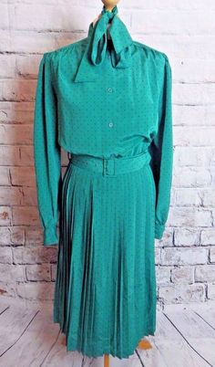vintage 80's dress Size 12 green black spotty pleated long sleeve shoulder pads | Clothes, Shoes & Accessories, Women's Clothing, Dresses | eBay!
