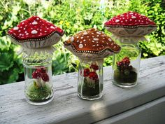 how cute are these? terrarium mushroom pincushions by Odile Gova [woolly  fabulous], via Flickr