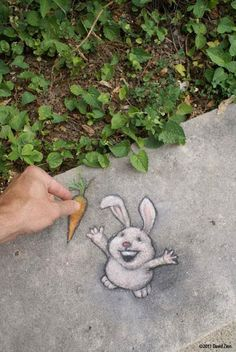 Chalk-Art-street-art-by-David-Zinn-11.....i wish I could draw like this I would.leave happy little.drawings like this everywhere:-)
