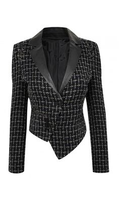 wioletta. TWEED BLAZER with FAUX LEATHER TRIM - House of Dereon