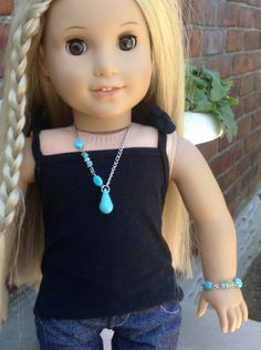 """Turquoise assymetrical necklace and matching bracelet set- two piece jewelry set for American Girl and other 18"""" dolls by BFFandMEJewelry on Etsy"""