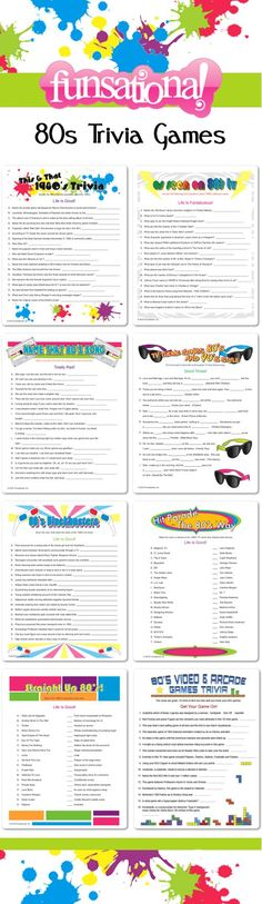 80s Trivia Games from Funsational. Personalize each one! #partygames: