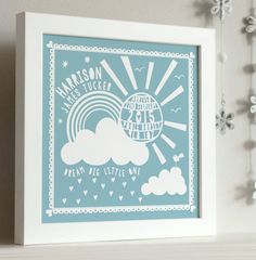 A sweet new baby framed print that will make a lovely addition to a nursery or bedroom wall.The childs' name is placed above the rainbow and the sunshine is personalised to include the date of birth, place of birth and weight. To complete your design, a chosen message can be presented underneath the cloud, eg 'our little ray of sunshine' (please see examples in the photos). Available in Bright blue, chalk blue, baby pink, warm grey and sunshine yellow.This print beautifully captures all of…