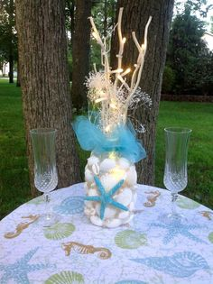 Perfect ambiance and fire hazard free. This centerpiece brings the turquoise Caribbean waters and the sparkling white sand to the table at your wedding celebration. A forever memento that will stand the test of time!